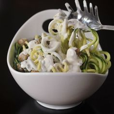 Vegan Dinners: Lemon Caper Zucchini Pasta with Goat Cheese Croutons