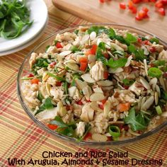Gluten-Free Chicken and Rice Salad with arugula, almonds, red peppers, and a tasty sesame dressing! This is going to be your new go to summer salad recipe for sure! AD MinuteMealsSweeps