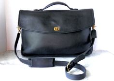 166435437e50 Coach Executive Brief Case    Large Black Leather Cross Body