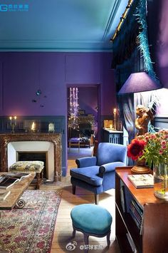 Purple room, ooh maybe a turquoise ceiling!