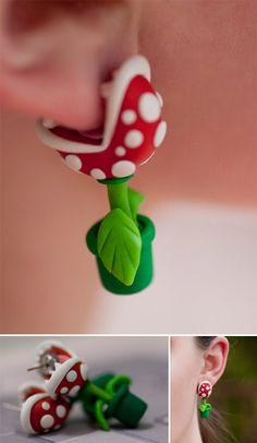 Pendientes con forma de planta carnívora, al estilo Mario Bros.
