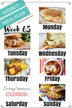 Welcome back to another easy weekly meal plan week There are a lot of yummy recipes for you to try out this week! Happy Sunday and happy planning! Easy Weekly Meals, Frugal Meals, Quick Easy Meals, Freezer Meals, Family Meal Planning, Planning Budget, Menu Planning, Meal Prep Plans, Kids Meal Plan
