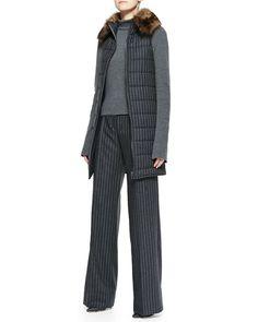 -5648 Oscar de la Renta Pinstripe Puffer Vest with Fur Collar, Long-Sleeve Turtleneck & Wide-Leg Pinstripe Trousers