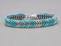 Turquoise Blue Bracelet Light Gold Seed Beads