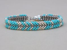 Turquoise Blue Bracelet Light Gold Seed Beads