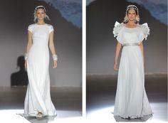 Colección Nanda Devi de Jesús Peiró, una de las colecciones más rica en contrastes creada por la diseñadora Merche Segarra http://www.unabodaoriginal.es/blog/de-la-cabeza-a-los-pies/vestidos-de-novia/coleccion-nanda-devi-de-jesus-peiro