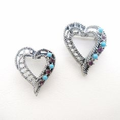 Vintage Heart Brooches / Lingerie Pins / Rhinestones Hearts, Silver Metal Open Heart Creations, Gerrys Jewelry by WhimzyThyme on Etsy #etsy #etsyfinds #dscollection #lingeriepins