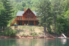 Fontana Lake Vacation Rental - VRBO 340065 - 5 BR Smoky Mountains Lodge in NC, Lakefront Luxury Log Home on Scenic Fontana Lake by Smoky Mtns