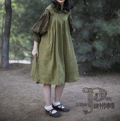 Výsledok vyhľadávania obrázkov pre dopyt Mori Girl Linen Vintage Suspender Dress Lolita Loose Sleeveless Tank Maid Dress with Waist Sashes  buy the inner dress