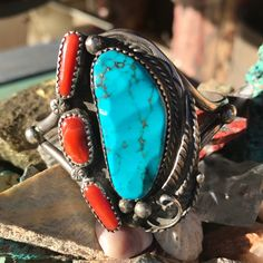 Lovely large Old Pawn traditional Navajo turquoise and coral cuff bracelet with JAJ hallmark.