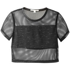 Jonathan Simkhai Black Fishnet Paneled Cropped Top ($350) ❤ liked on Polyvore featuring tops, shirts, crop tops, t-shirts, crop top, shirts & tops, crop shirts, fishnet shirt and short sleeve crop top