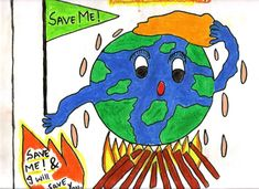 Digimon Masters: Save our Earth Poster Making Contest!for posture making Global Warming Drawing, Global Warming Poster, Poster Competition, Drawing Competition, Save Earth Drawing, Drawing For Kids, World Environment Day Posters, Save Earth Posters, World Earth Day