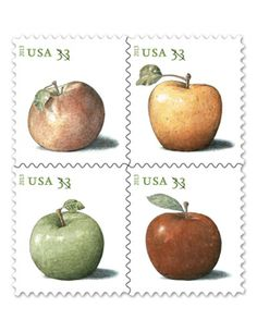 Great idea for Rosh Hashanah greetings on postcards Apples Stamps (.33)