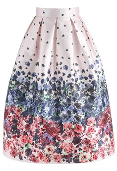 Enamored Rosebud Printed Midi Skirt in Pink - New Arrivals - Retro, Indie and Unique Fashion