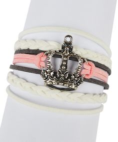 Look at this White & Pink Crown Braided Leather Bracelet on #zulily today!