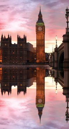 Big Ben: the popular clock tower in London standing next to the Houses of Parliament.