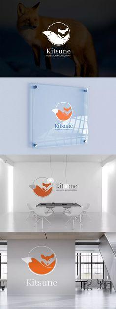 Kitsune : Negative Space Fox Logo Template AI, EPS