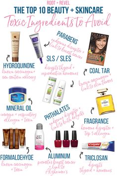 Personal care products are filled with toxic, harmful chemicals. Here's a cheat sheet to the ten most important toxic skincare ingredients to avoid. #cleanbeauty #skincare #nontoxic