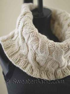 906837da26c5  120 Double Cabled Cowl PDF Knitting Pattern  knitting  SweaterBabe.com  Tricot Homme