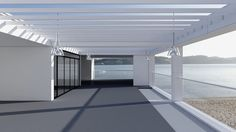 3d rendering interior. Modern interior with views of the sea