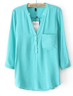 Aqua Teal V Neck Long Sleeve Buttons Chiffon Blouse