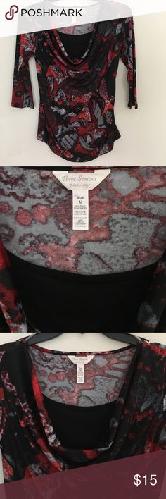 Cute Maternity Top 3/4 length sleeve cowl neck top. Great at any point in pregnancy. Three Seasons Maternity Tops Blouses