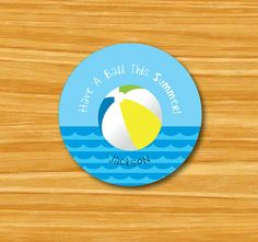 Have a Ball This Summer gift tag; Have a Ball This Summer card; end of year gift tags