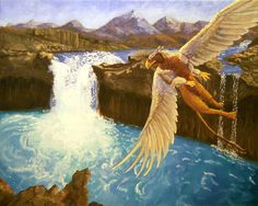 Painted Griffon - griffin, greif, fantasy art, mystery, fantasy, gryphon, greek mythology