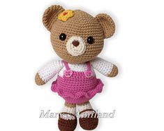 Ravelry: Project Gallery for Carm Girl Bear the Ami pattern by Mary's Amiland Basic Crochet Stitches, Crochet Basics, All Free Crochet, Crochet For Kids, Amigurumi Patterns, Crochet Patterns, Handmade Gifts, Handmade Items, Cute Pattern