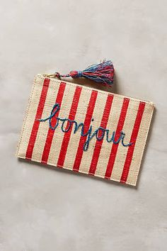 #anthrofave Bonjour Striped Tassled Little Zipper Pouch