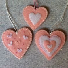 Felt heart ornaments (1).