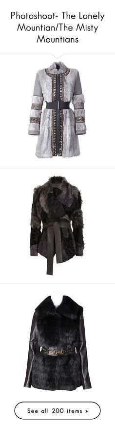 """""""Photoshoot- The Lonely Mountian/The Misty Mountians"""" by nightshadefaerie ❤ liked on Polyvore featuring outerwear, coats, jackets, dresses, knee length coat, knee length trench coat, long coat, belted coat, trench coat and fur"""