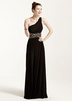 Open Back One Shoulder Prom Dress with Bead Detail - Black / Gold, 15