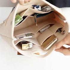 Bag in Bag Felt Casual Travel Multi-pockets Storage Bag Liner Package Cosmetic Bag Felt Purse, Coin Purse, Felt Wallet, Handbag Organization, Handbag Organizer, Diy Bag Organiser, Organization Ideas, Bag In Bag, Tote Bags