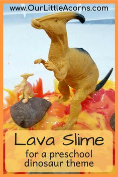 Make this oozy lava slime with just 3 ingredients for your preschool dinosaur theme. Perfect for a sensory bin or prehistoric small world! Dinosaur Classroom, Dinosaur Theme Preschool, Preschool Classroom, Preschool Dinosaur Crafts, Daycare Curriculum, Homeschool, Classroom Ideas, Reggio Classroom, Science Curriculum