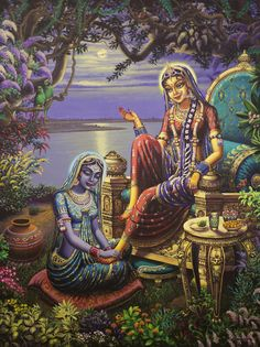 ☼ Lord Krishna Appeasing a Sulking Radha Rani ☼  Once Radha sulked when Krishna did not turn up even after an assurance that he would.   Krishna tried hard to appease her but in vain. The sakhis strived to placate her but it was of no use.   Finally Krishna in connivance with the sakhis, disguised as one of them came close to Radha. Observing a new sakhi she was amused and began questioning her.   The moment she knew that the sakhi was adept at singing she gave her a warm hug. The touch…
