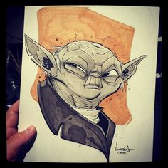 Yoda by Jon Sommariva for Sketch Dailies Copic Marker Art, Copic Markers, Geek Out, Comic Art, Geek Stuff, Star Wars, Sketches, Ink, Cartoon