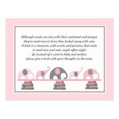 Pink Elephants Insert for Book Baby Shower Postcard