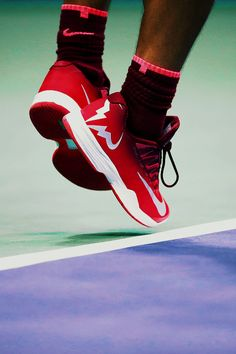 """""""A detailed view of the sneakers of Rafael Nadal of Spain during his second round Men's Singles match against Taro Daniel of Japan on Day Four of the 2017 US Open at the USTA Billie Jean..."""