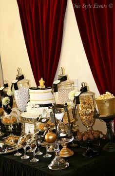Old Hollywood Glam Party  by Chic Style Events..... i will be doing pink and gold candies instead of black for my girl cass..