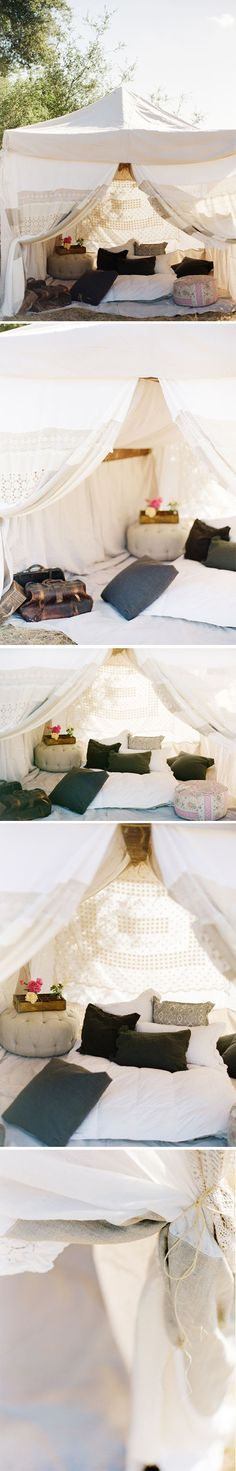 tent made out of vintage linens and sewn by the uber talented Jeni of Found Vintage Rentals...
