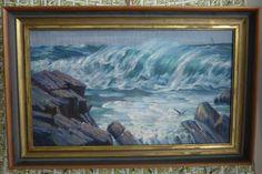 Vtg Seascape Oil Painting Waves Rocky Coastline Light House Shore Birds Framed #PleinAir $485.99 obo
