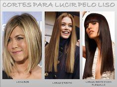 CORTES PARA LUCIR PELO LISO: LONG BOB, puede ser corte recto o bien más corto atrás y más largo adelante, pero siempre manteniendo un largo de cabello hasta más arriba de los hombros; LARGO Y RECTO, tu rostro tendrá otro encuadre, como también que tendrás un toque sensual y el largo perfecto para crear peinados cuando más quieras; y LARGO, RECTO Y CON FLEQUILLO, este tipo de corte hará que tu pelo liso se destaque y tenga mucho más estilo que en temporadas anteriores.