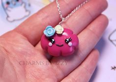 Kawaii pink cloud with flowers charm necklace £3.30