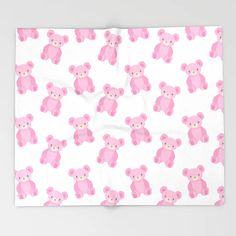 Pink Teddy Bears Throw Blanket by Gabrielle Gomez Art - x Blanket Black Bear, Brown Bear, Bear App, Bear Drawing, Teddy Bears, Cute Gifts, Polar Bear, Bear Blanket, Kids Rugs