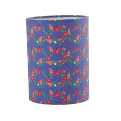 Cylinder Shaped Lamp Shape in Blue Flower Print, Rice Denmark