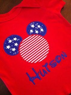 Patriotic Mickey Mouse - 4th of July - Red Onesie/T-shirt. $18.00, via Etsy.