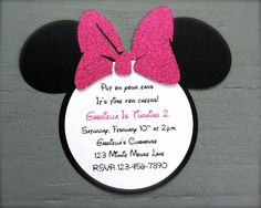 Minnie Mouse Invitations with Hot Pink Glitter Bow
