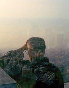A series of photographs by Jasper James that superimpose silhouettes onto cityscapes.
