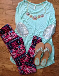 Winter fall spring outfit Mint Sequin Elbow Patch Hi Low Tunic  www.facebook.com/thinkpinkboutique1